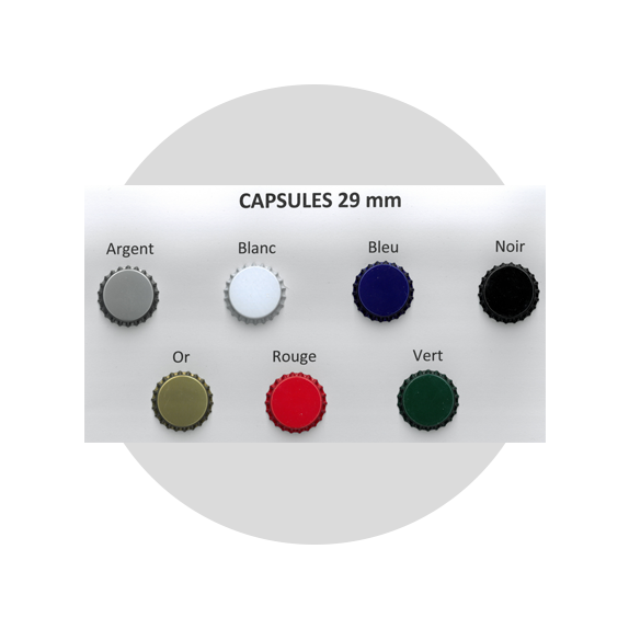 100 capsules Couleur 29mm